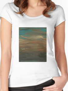 Layered Teal Sunset Women's Fitted Scoop T-Shirt