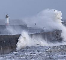 Stormy sea, Newhaven wave breaker and lighthouse by Katariina Jarvinen