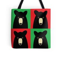 BLACK BEAR ON RED & GREEN Tote Bag