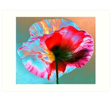 Photo Manipulated Iridescent Poppy Art Print