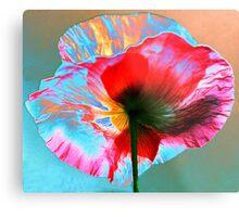 Photo Manipulated Iridescent Poppy Metal Print