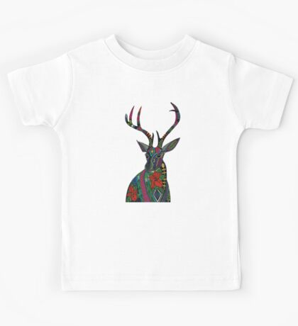 poinsettia deer blue Kids Tee