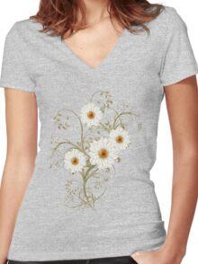 Summer Flowers Women's Fitted V-Neck T-Shirt