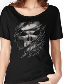 Silver Skull torn tee tshirt Women's Relaxed Fit T-Shirt