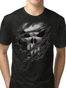 Silver Skull torn tee tshirt Tri-blend T-Shirt