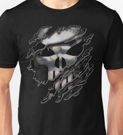 Silver Skull torn tee tshirt Unisex T-Shirt