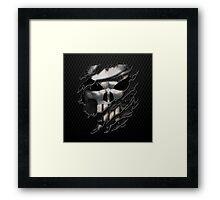 Silver Skull torn tee tshirt Framed Print