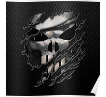 Silver Skull torn tee tshirt Poster