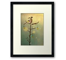 Gold squirrel glide tree alone sunset Framed Print