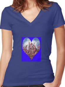 Pink Tree Blossoms Women's Fitted V-Neck T-Shirt
