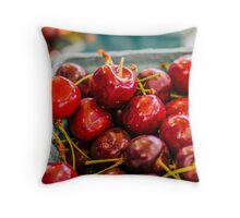 Juicy Cherries at Farmers Market Throw Pillow