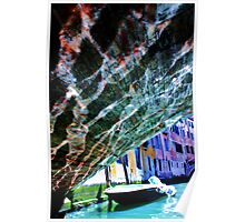 water reflection on the bridge, boat on the river Poster