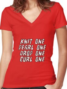 Knit One Pearl One Drop One Curl One Women's Fitted V-Neck T-Shirt