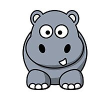 Cartoon Hippopotamus Photographic Print