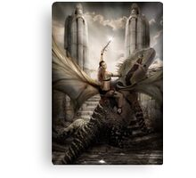 My wife on a Dragon  Canvas Print