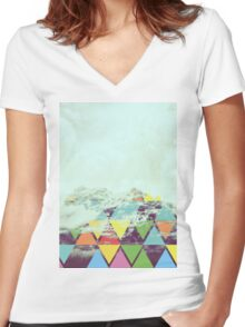 Triangle Mountain Women's Fitted V-Neck T-Shirt
