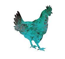 Chicken Hen Teal Blue Photographic Print