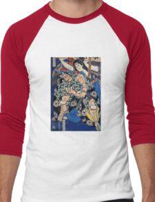 Kusunuki Tamonmaru by Katsushika Hokusai (Reproduction)  Men's Baseball ¾ T-Shirt