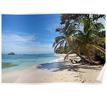Tropical wild sandy beach with an islet Poster