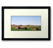 Old Farmhouse and Rolling Hills Framed Print