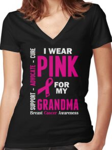 I Wear Pink For My Grandma (Breast Cancer Awareness) Women's Fitted V-Neck T-Shirt