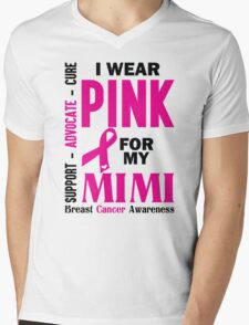 I Wear Pink For My Mimi (Breast Cancer Awareness) Mens V-Neck T-Shirt