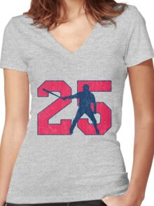 No. 25 Women's Fitted V-Neck T-Shirt
