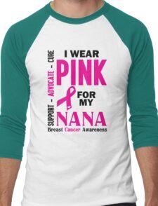 I Wear Pink For My Nana (Breast Cancer Awareness) Men's Baseball ¾ T-Shirt