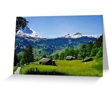 Sky high Swiss fields Greeting Card