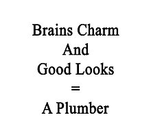 Brains Charm And Good Looks = A Plumber  Photographic Print