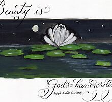 Emerson beauty quote water lily painting  by Melissa Goza