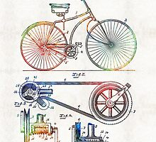 Colorful Bike Art - Vintage Patent - By Sharon Cummings by Sharon Cummings