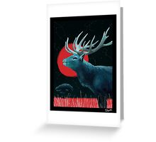 Blue Elk and Red Moon Greeting Card