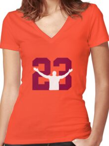 No. 23 (wine and gold) Women's Fitted V-Neck T-Shirt