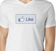 Like Button V-Neck Mens V-Neck T-Shirt