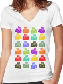 Colorful Cameras Women's Fitted V-Neck T-Shirt
