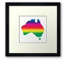 Map of Australia coloured with rainbow Framed Print