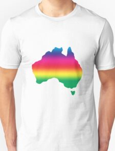 Map of Australia coloured with rainbow T-Shirt