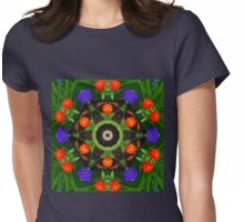 Warm orange and cool blue botanical mandala Womens Fitted T-Shirt