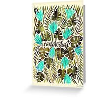 Tropical Wanderlust – Turquoise & Olive Greeting Card