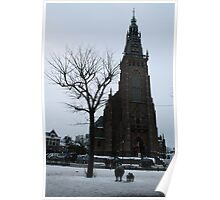 A pointy building. - (The protestant church, in Schagen.) Poster