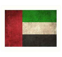 Old and Worn Distressed Vintage Flag of United Arab Emirates Art Print