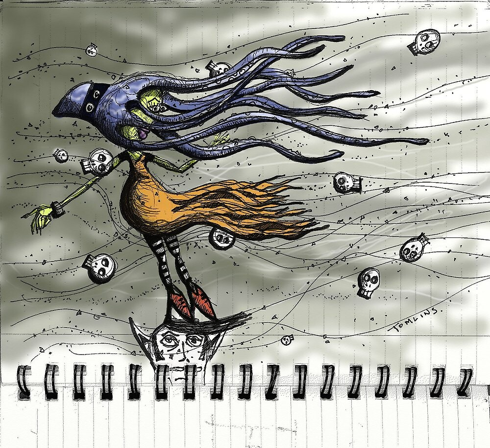 Octopus Girl in the Field of Windblown Skulls by Andrew Tomlins