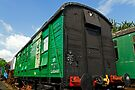 Green Luggage trailer in Railway sidings by buttonpresser