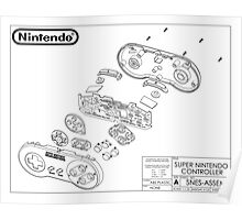 Exploded SNES Controller Schematic Poster
