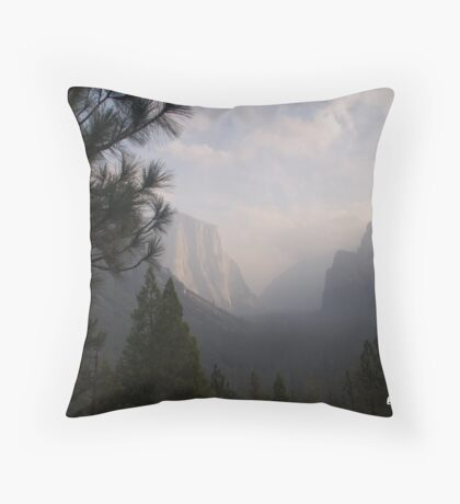 Foggy Morning in Yosemite  Throw Pillow