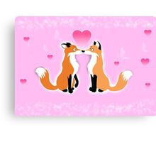 Valentines Day Foxes Canvas Print