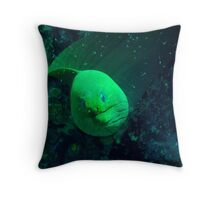 Green Moray Throw Pillow