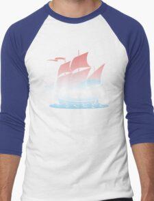 Red Sky Blue Wave Lines Men's Baseball ¾ T-Shirt
