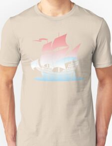 Red Sky Blue Wave Lines Unisex T-Shirt